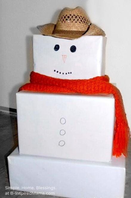 A Cardboard Box Snowman Play Set at B-Inspired Mama