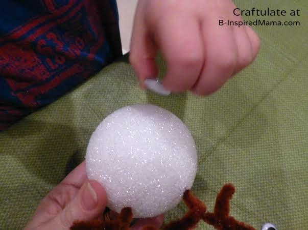 Adding Eyes - Christmas Ornaments for Kids to Make - Reindeer - B-Inspired Mama