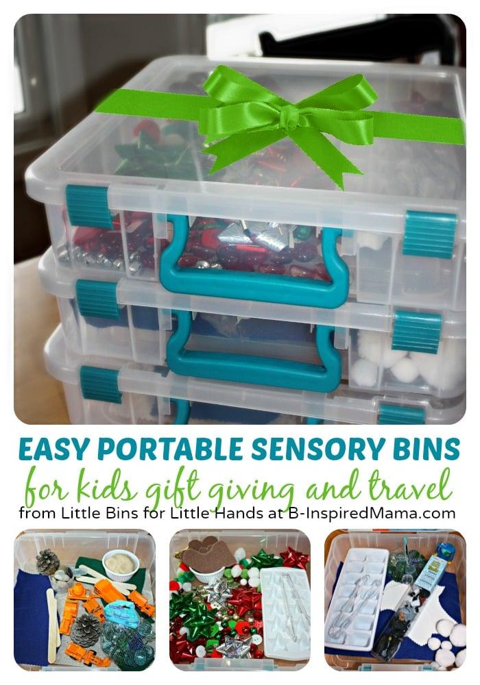 Easy & Portable Sensory Bin Gift Ideas at B-Inspired Mama