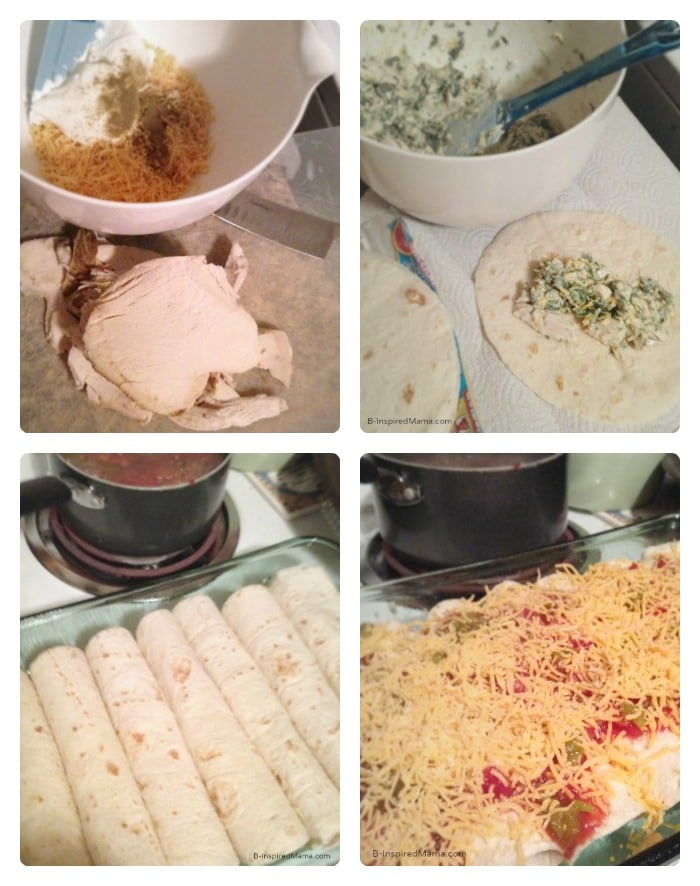 Making Easy Leftover Turkey Enchiladas - Sponsored by eMeals at B-Inspired Mama