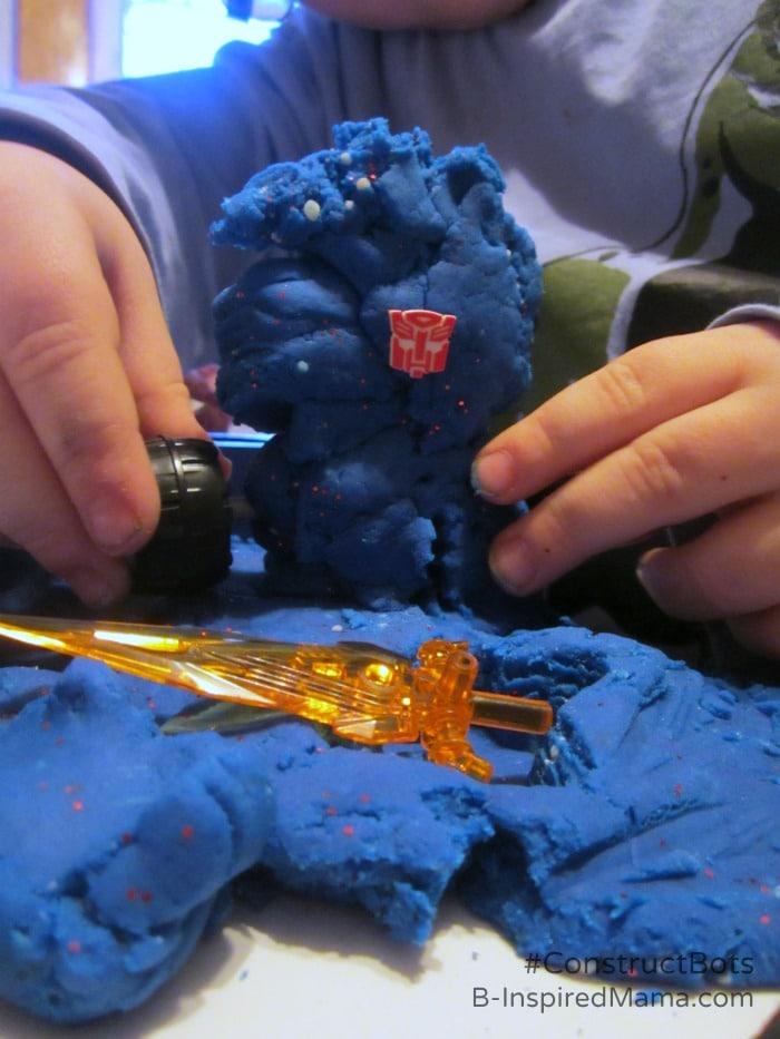 Making Homemade Playdough Construct-Bots at B-Inspired Mama