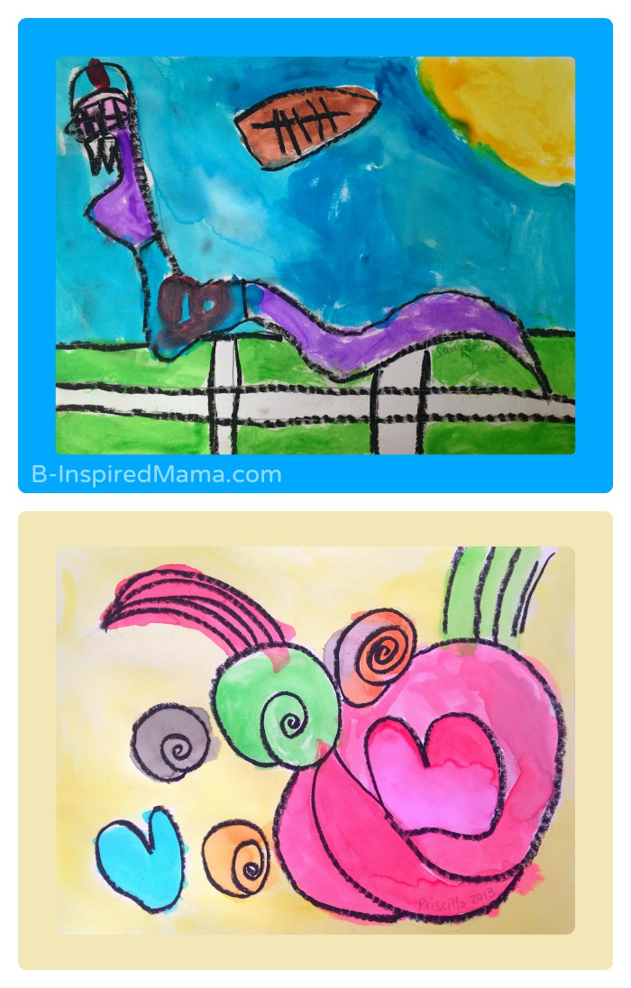 Oil Pastel and Watercolor Kid Art Posters for Christmas Gifts - Sponsored by Sponsored by #WalgreensApp #shop #cbias - B-Inspired Mama