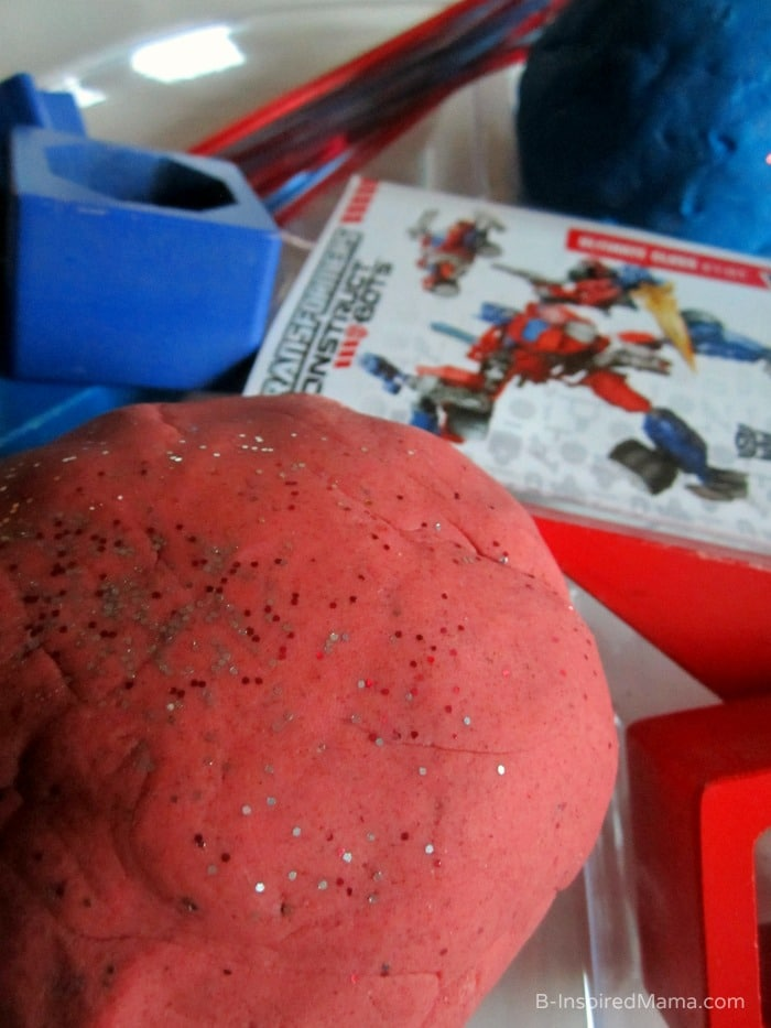 Red Sparkle Homemade Playdough at B-Inspired Mama