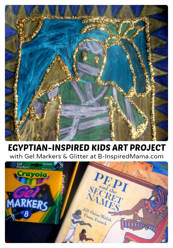 A Golden Glittery Egyptian Inspired Kids Art Project (#Sponsored by #SwifferatTarget) at B-Inspired Mama