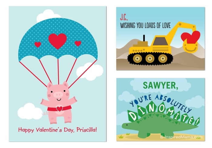 Cute Kids Valentines with Names from Treat at B-Inspired Mama