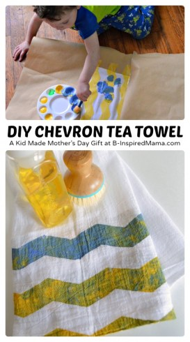 A Kid Painted Chevron Tea Towel Mother's Day Craft [Sponsored by #FrogTape] at B-Inspired Mama
