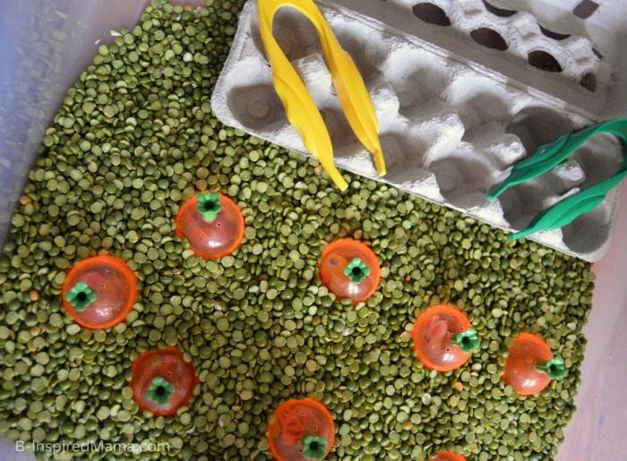 A Peas and Carrots Sensory Bin for Sensory Play at B-Inspired Mama