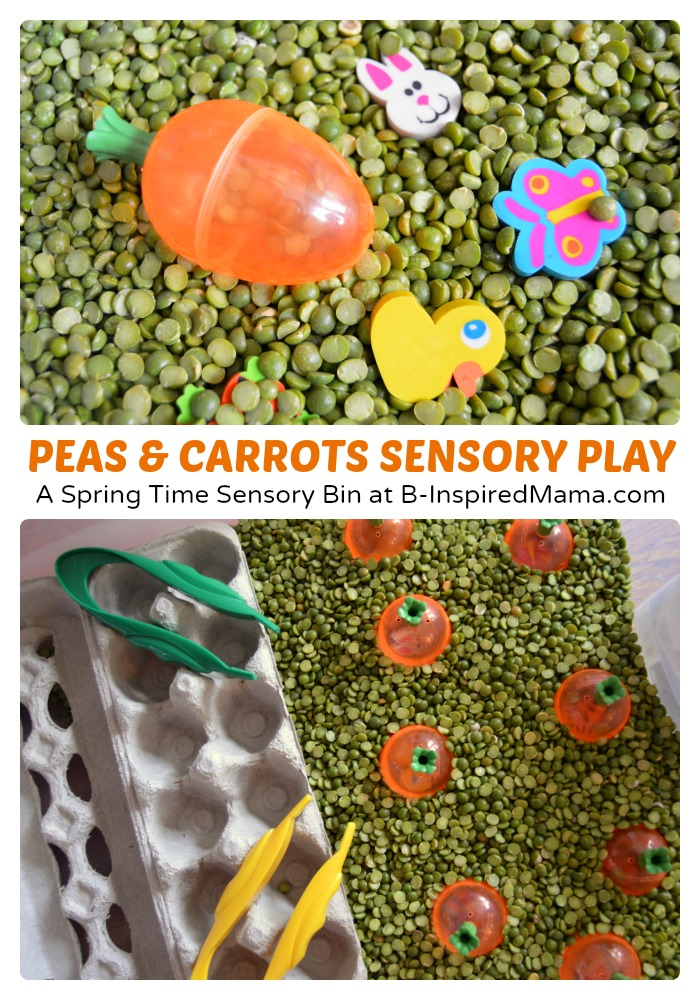 Cute Peas and Carrots Sensory Play at B-Inspired Mama
