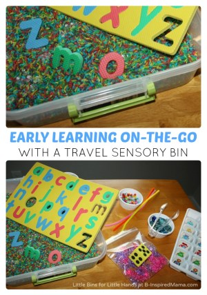 Early Learning On The Go with a Travel Sensory Bin at B-Inspired Mama
