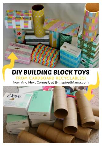 Simple DIY Toys for Kids - Building Blocks from Recyclables at B-Inspired Mama