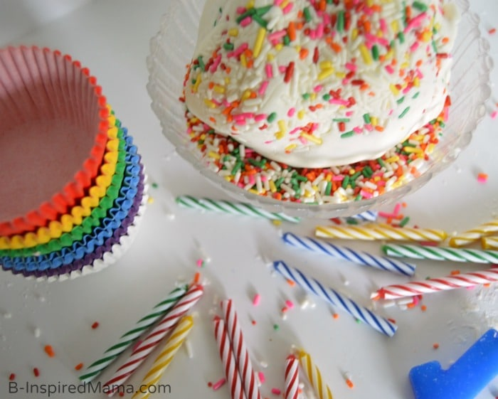 Adding Sprinkles to a Cupcake Play Dough Recipe - #GeorgeTurns1 at B-Inspired Mama