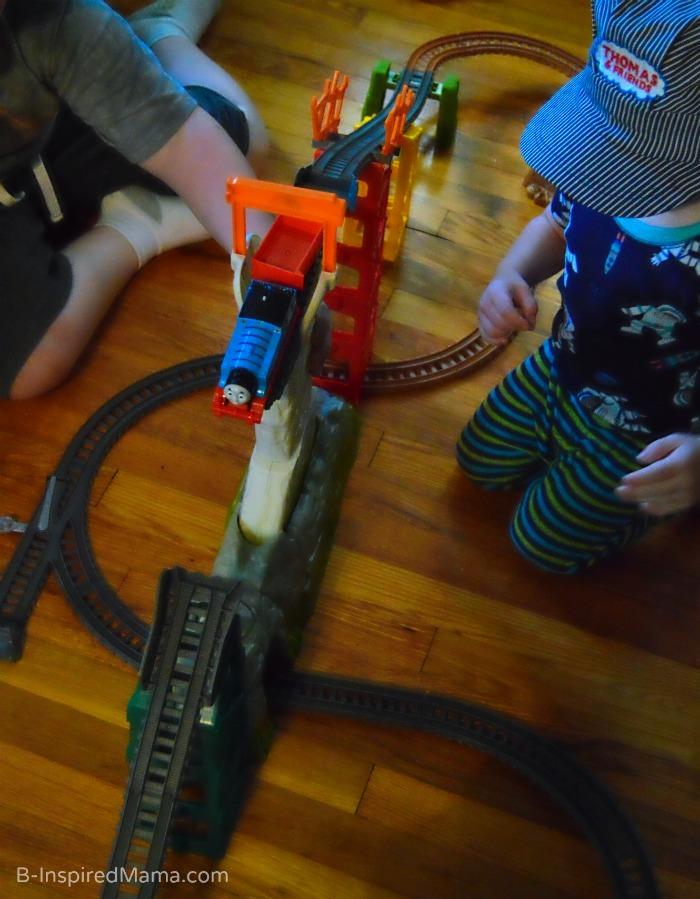 Brothers Playing Together with Thomas the Trackmaster  + Thomas Inspired Train Crafts and Activities at B-Inspired Mama