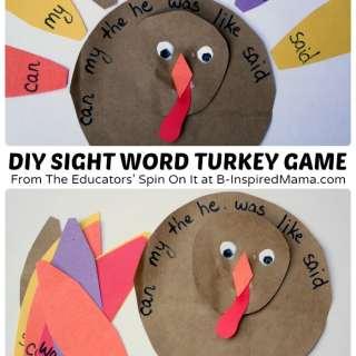 DIY Sight Word Turkey Game