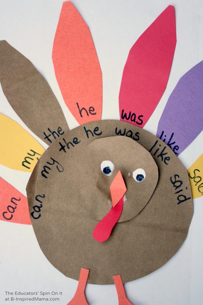 A Homemade Sight Word Turkey Game at B-Inspired Mama