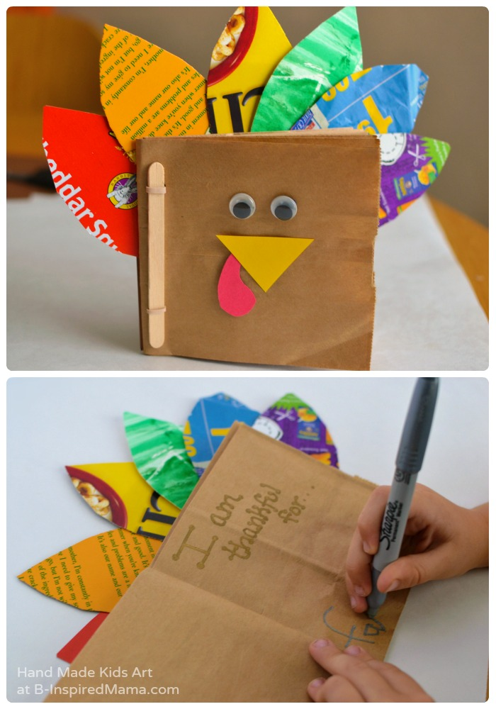 Journaling in Our Thankful Turkey Kids Book Craft + More Thanksgiving Crafts for Kids at B-Inspired Mama