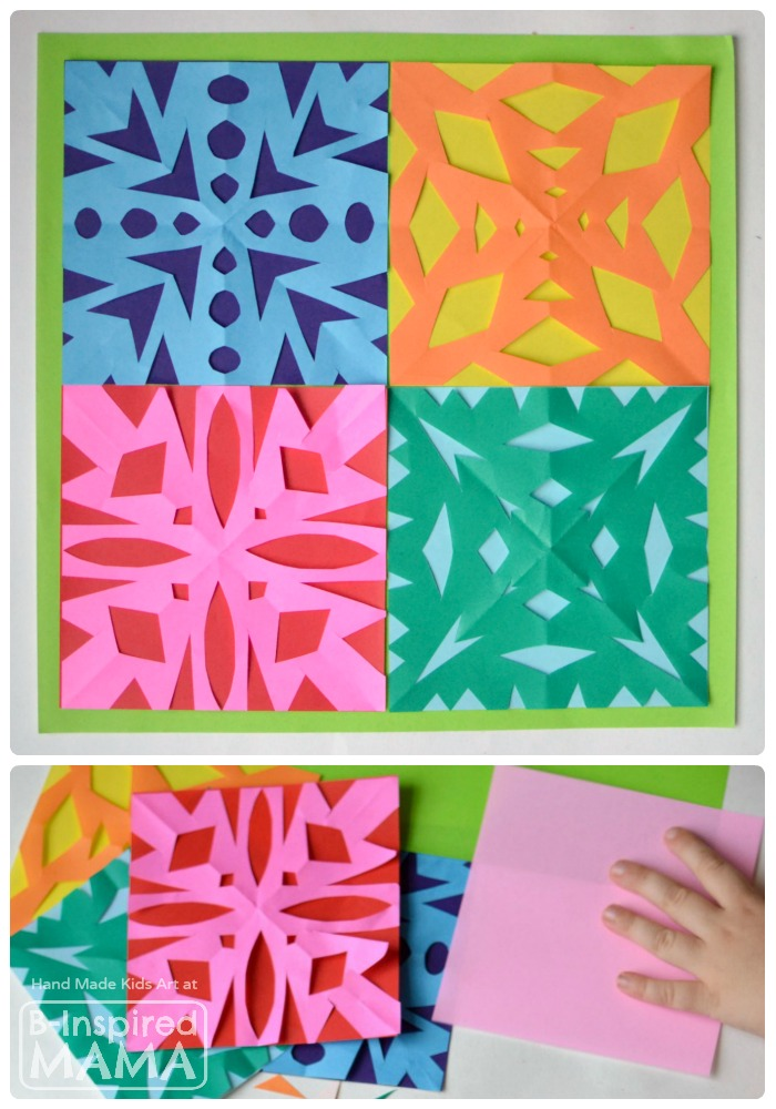 A Kids Art Quilt Full of Paper Snowflakes   B-Inspired Mama