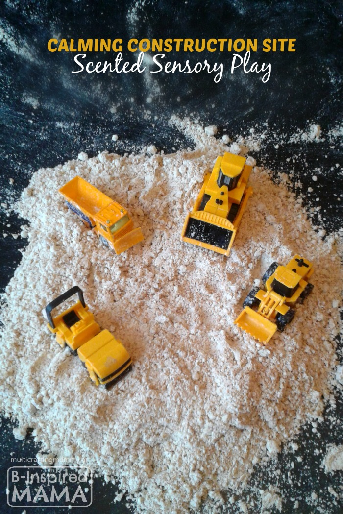 Calming Construction Site Sensory Play - with DIY Moon Sand at B-Inspired Mama