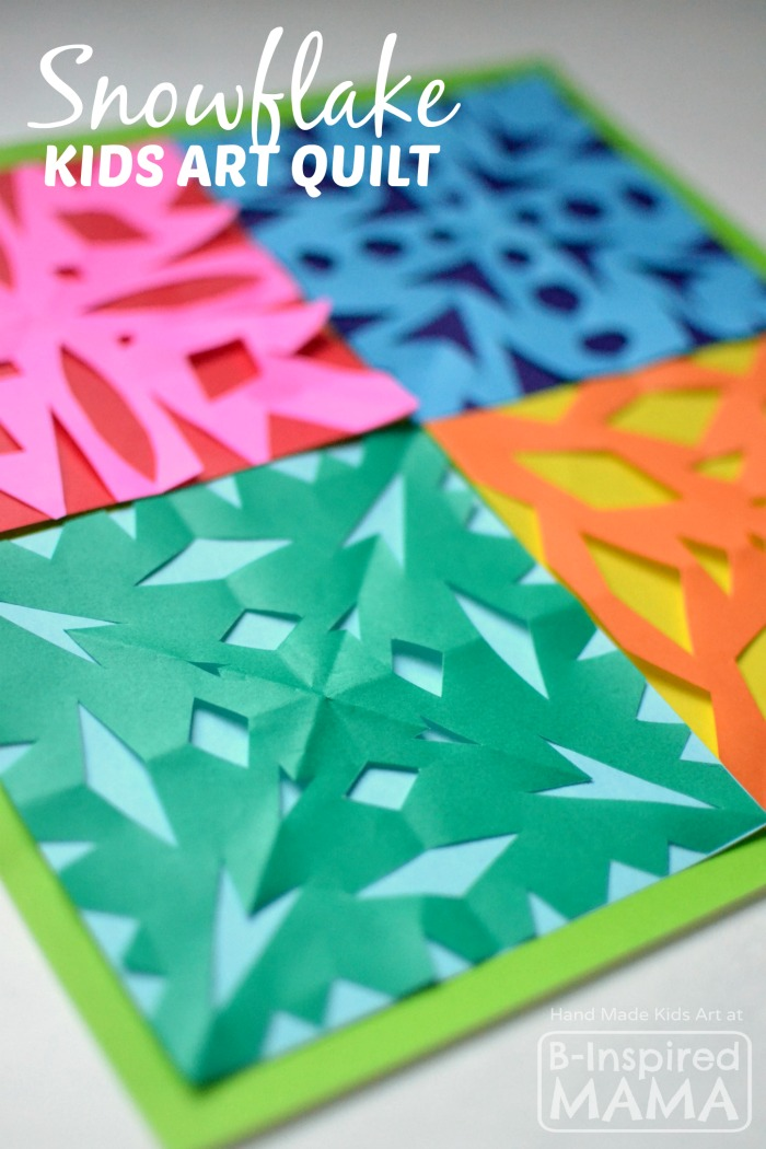 A Kids Art Quilt Full of Paper Snowflakes