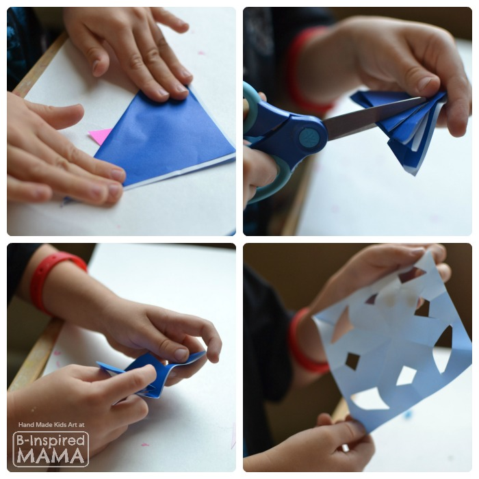 Cutting Paper Snowflakes for a Colorful Kids Art Quilt - B-Inspired Mama
