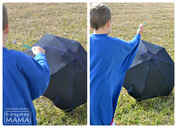 A Fun Action-Painted Umbrella Kids Art Activity - Perfect for Spring - at B-Inspired Mama
