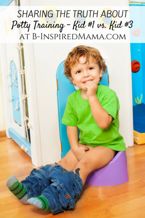 Potty Training the First Kid vs. the Third Kid at B-Inspired Mama