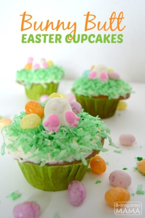 Easy Bunny Butt Easter Cupcakes - A Kids in the Kitchen Recipe at B-Inspired Mama