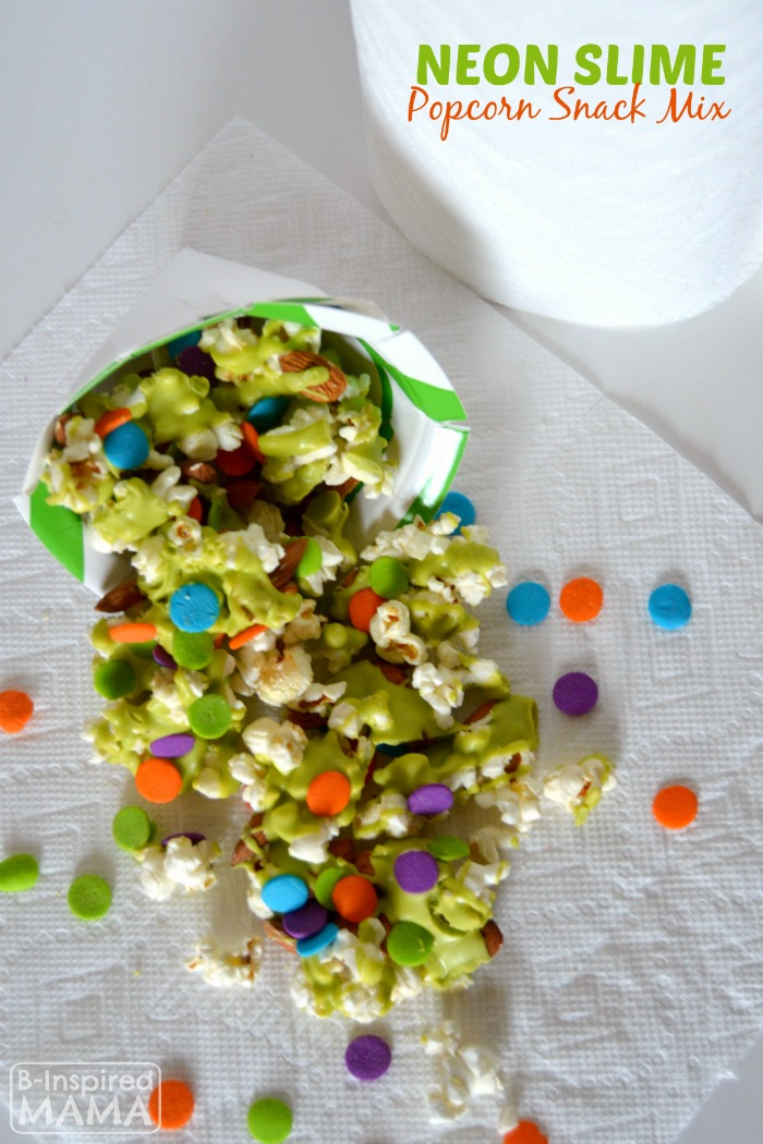 Fun Neon Slime Popcorn Snack Mix for Watching the Nickelodeon Kids Choice Awards at B-Inspired Mama