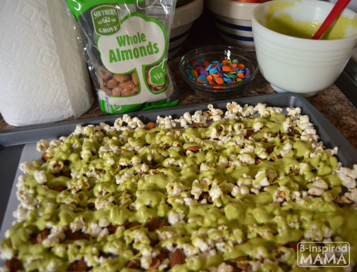 Making Our Neon Slime Popcorn Snack Mix for Watching the Nickelodeon Kids Choice Awards at B-Inspired Mama