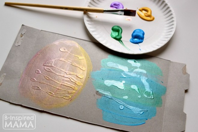Painting Recycled Art Easter Eggs at B-Inspired Mama