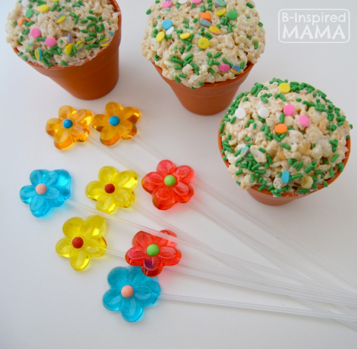 Adding Lollipops to our Spring Flower Pot Rice Krispies Treats at B-Inspired Mama