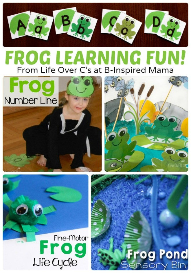 Frog Themed Learning and Alphabet Activities + Free Printables, too at B-Inspired Mama