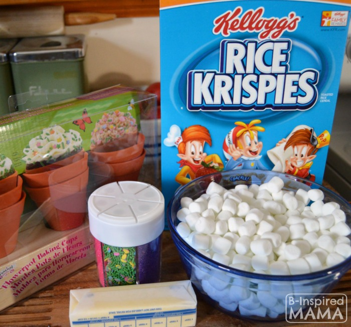 Ingredients for Our Spring Flower Pot Rice Krispies Treats at B-Inspired Mama