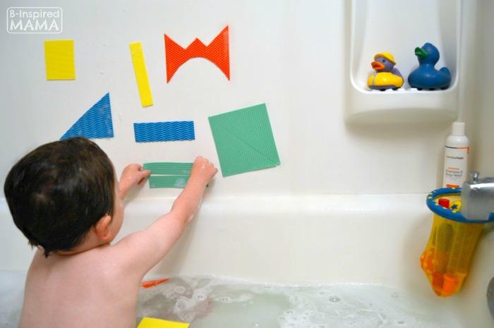 Making Abstract Art With DIY Kids Bath Shapes   At B Inspired Mama