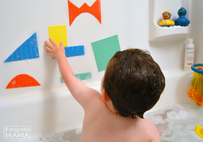 Making Abstract Art with Simple DIY Kids Bath Shapes - at B-Inspired Mama