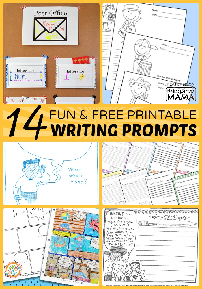 14+ Fun and Free Printable Writing Prompts for Kids at B-Inspired Mama