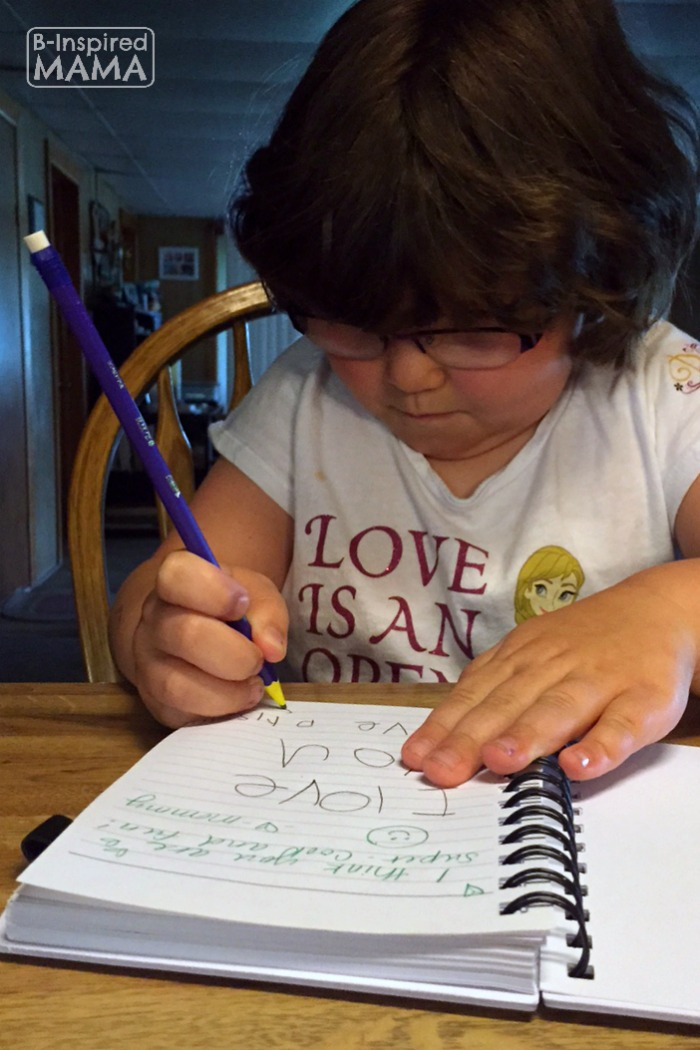 Writing in Our Together Journal + Printable Writing Prompts for Kids at B-Inspired Mama