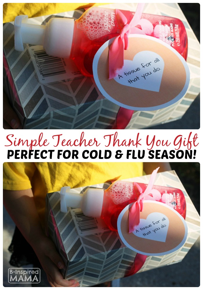 Cold Season Teacher Appreciation Gift - With a Free Printable Gift Tag - at B-Inspired Mama