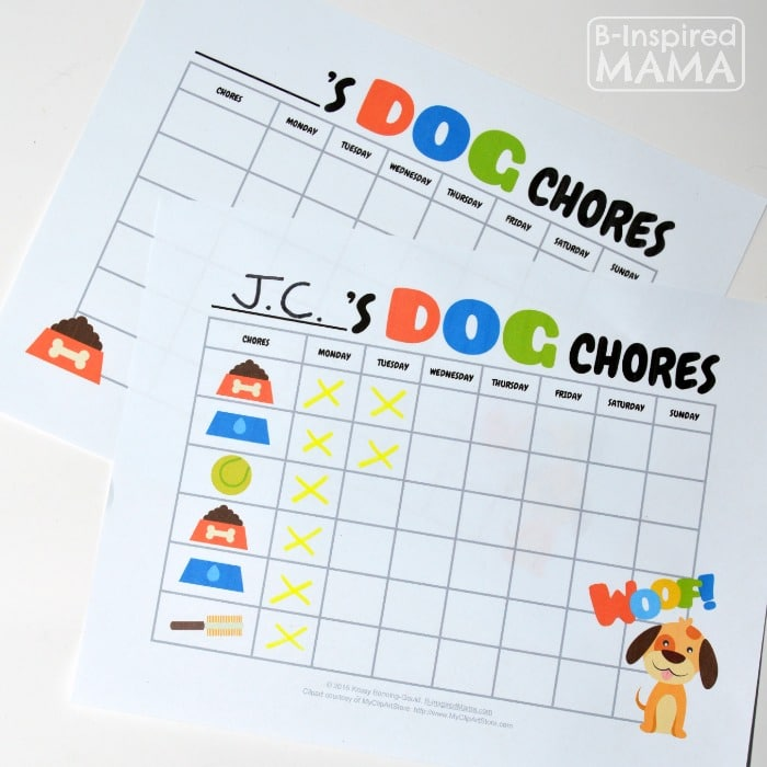 Free Printable Dog Care Chore Chart for Kids - SPonsored by Iams - B-Inspired Mama