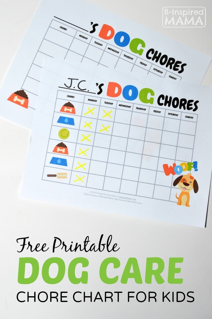 free printable dog care chore chart for kids at b inspired mama - Free Printables Kids