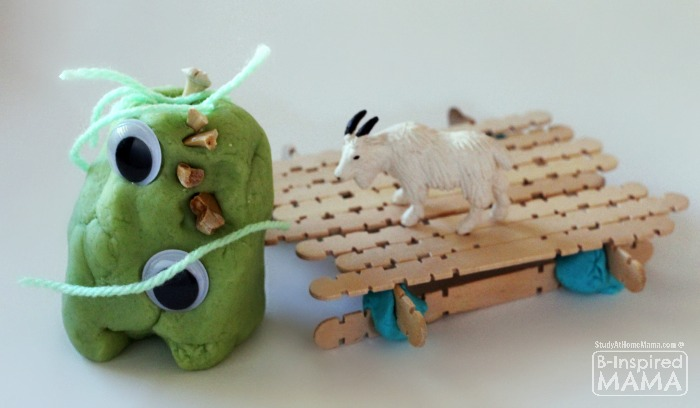 Billy Goats Gruff Play Dough Kit for Kids - A Troll and Bridge - at B-Inspired Mama