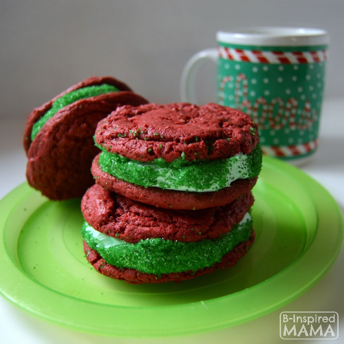 Easy Red Velvet Christmas Cookie Sandwiches - Perfect Holiday Cookies for Santa - at B-Inspired Mama