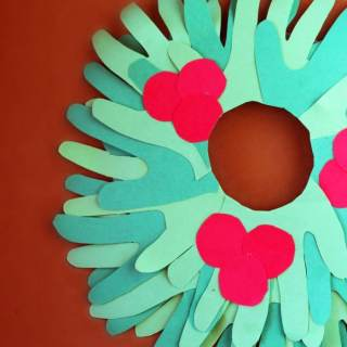 Kids Handprint Wreath Christmas Craft