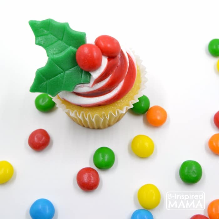 Make a Holly Cupcake Topper for Christmas Cupcakes - Using Airheads Candy - at B-Inspired Mama