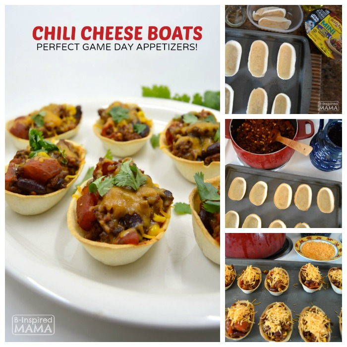 Chili Cheese Boats - Perfect for Game Day + Family Game Day Party Ideas - at B-Inspired Mama