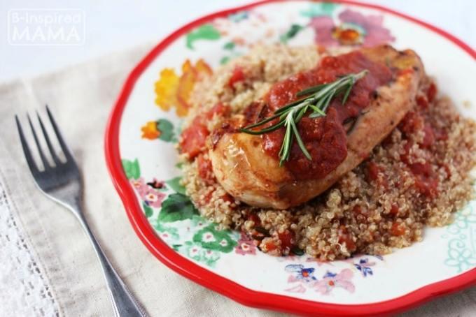 Skillet Tomato Rosemary Chicken Recipe - Served Over Quinoa - at B-Inspired Mama