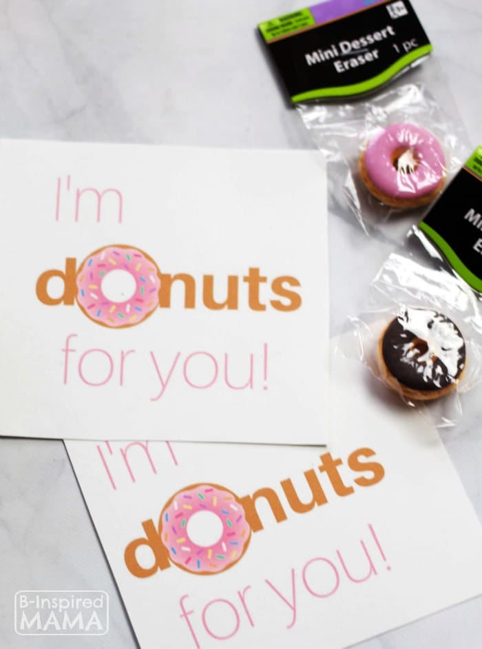Supplies for Your Donut Valentines + Free Printable Valentines to Pair with Real Donuts or Donut Erasers - at B-Inspired Mama