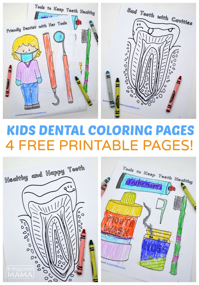 4 Free Dental Coloring Pages for Kids - at B-Inspired Mama