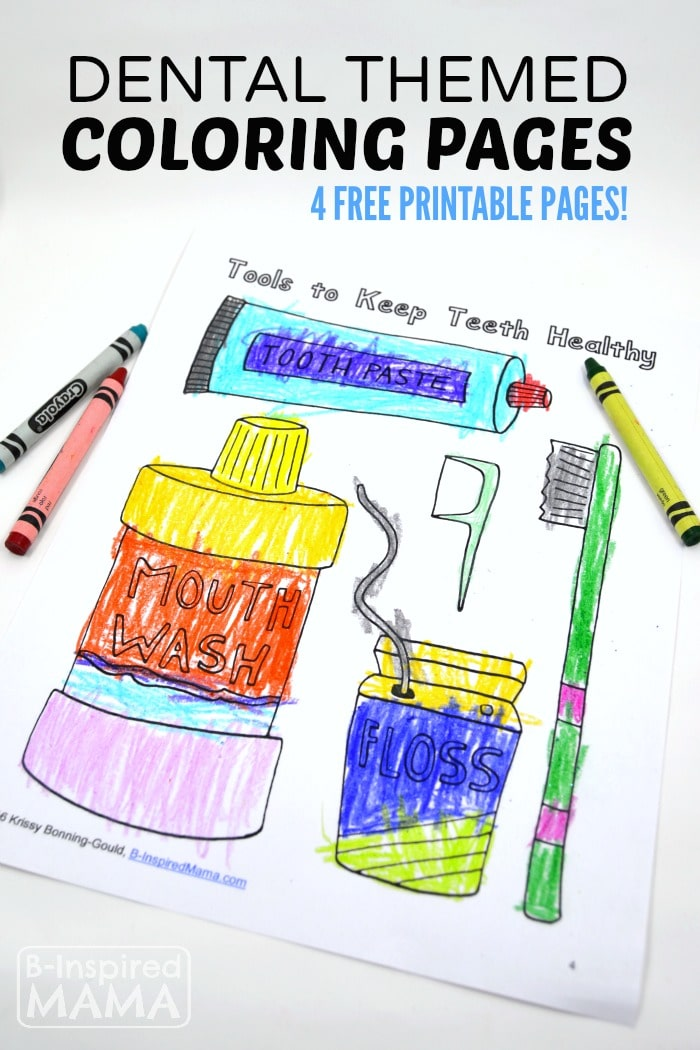 4 Free Printable Dental Coloring Pages for Kids - at B-Inspired Mama