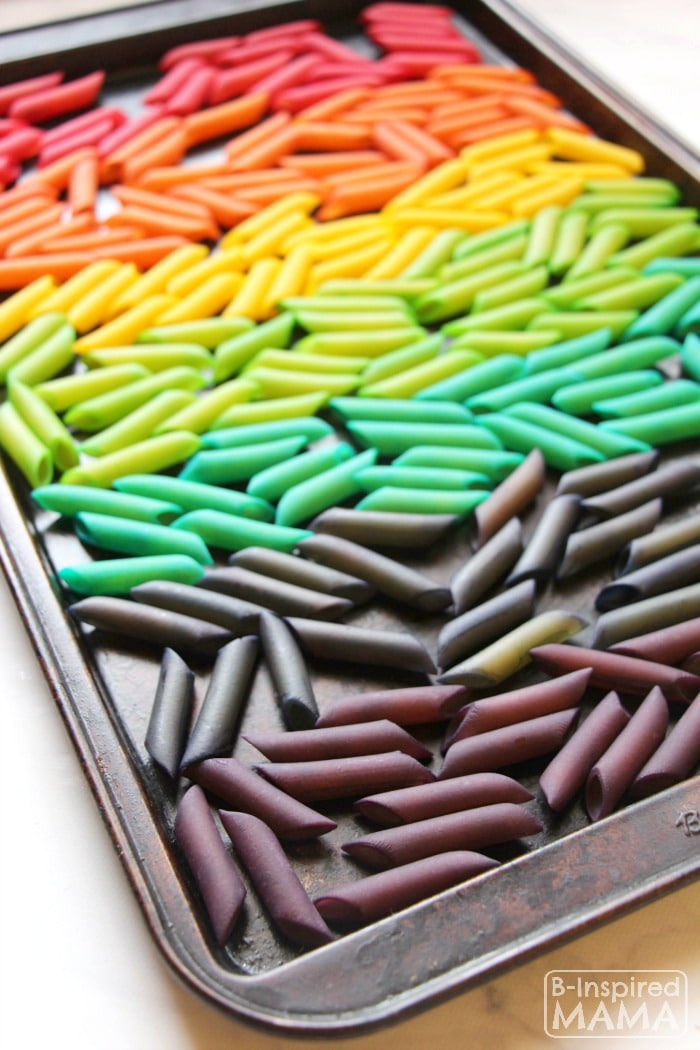 Rainbow Mobile Craft for Kids - How to Dye Pasta - at B-Inspired Mama