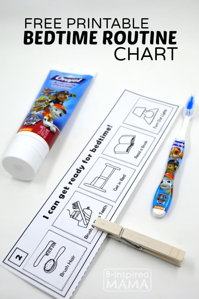 Free Printable Bedtime Routine Chart for Kids - B-Inspired Mama